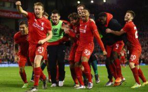 Gledesscener på Anfield da de ble klare for finalen etter å ha slått Stoke på straffer. (Foto: Getty Images)