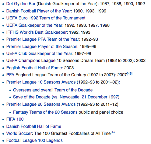 Liste over Schmeichels individuelle medaljer. Foto: skjermdump Wikipedia.com